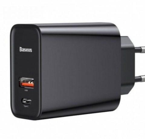 آداپتور سریع دو پورت 30 وات بیسوس Baseus Speed PPS Quick Charger USB+Type-C BS-EU905 CCFS-C01 30W