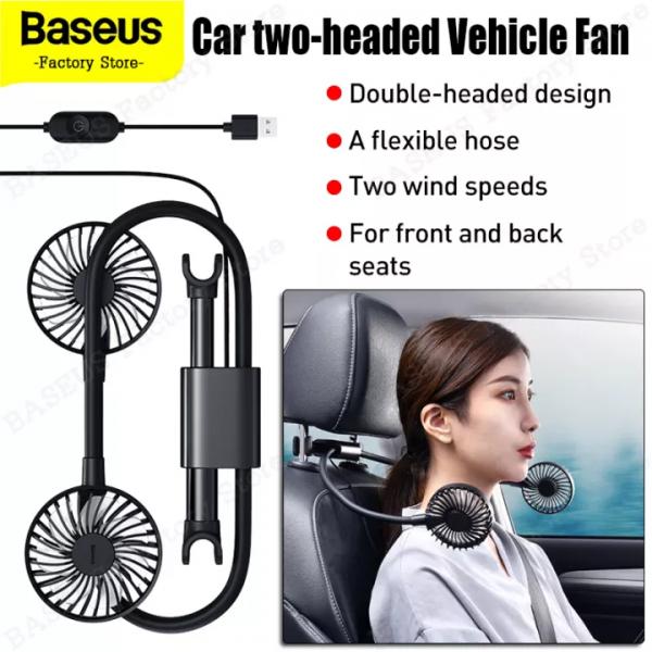 پنکه صندلی اتومبیل بیسوس Baseus Blustery Car Two-Headed Vehicle Fan CXJF-01