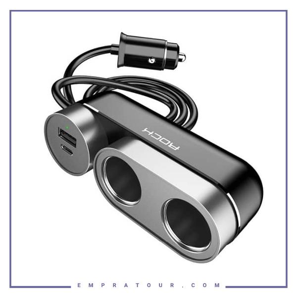 شارژر فندکی سریع دو پورت راک Rock 2in1 Car Cigarette Lighter Socket RCC-0137
