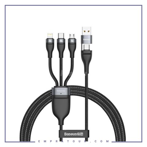 کابل سه سر سریع بیسوس Baseus USB/Type-C Flash Series 2 for 3 Data Cable CA2T3-01